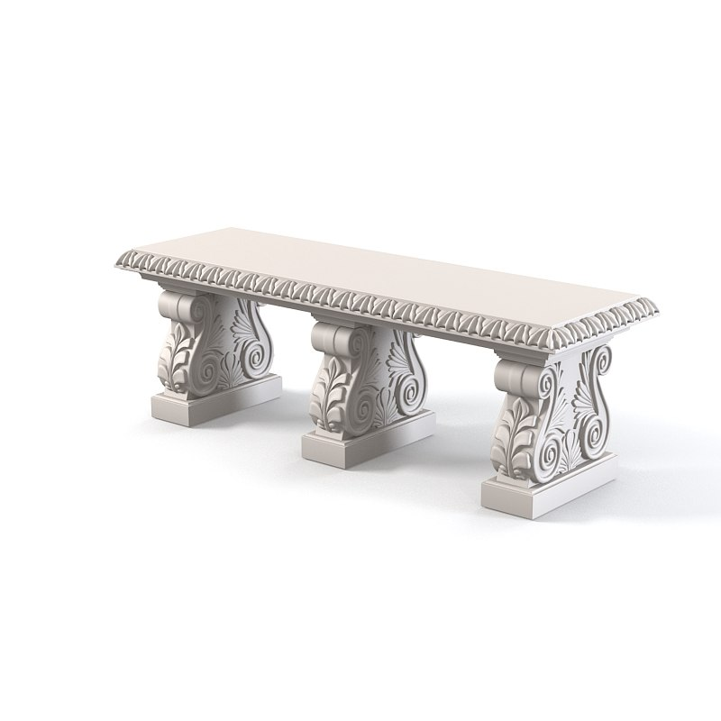 outdoor stone bench 3d model